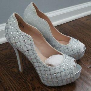 Studded silver heels!!!